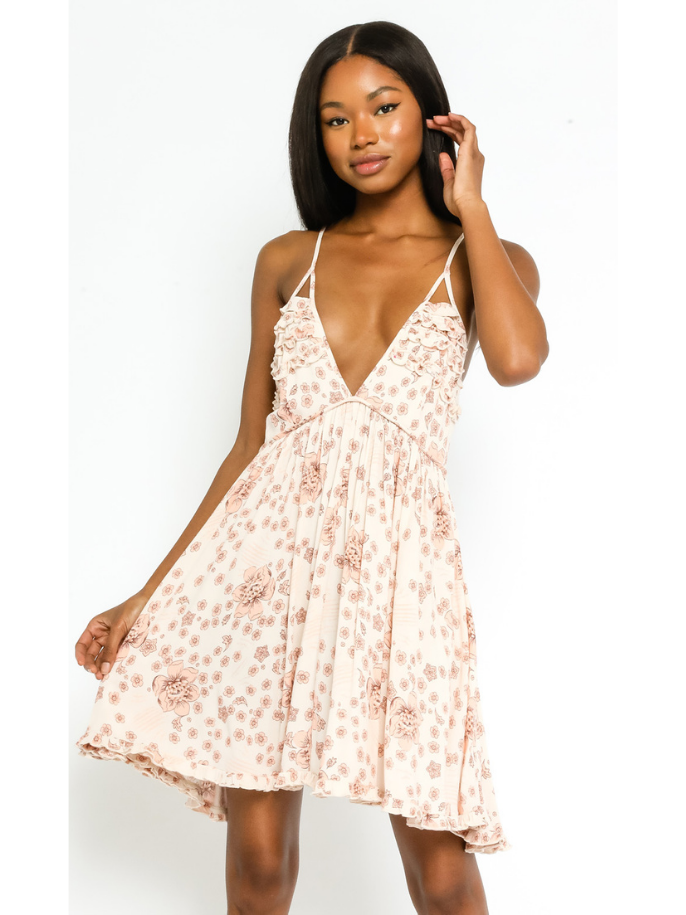 Floral Low V Strappy Dress