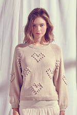 Balloon Sleeve Sweater With PomPom Detailing