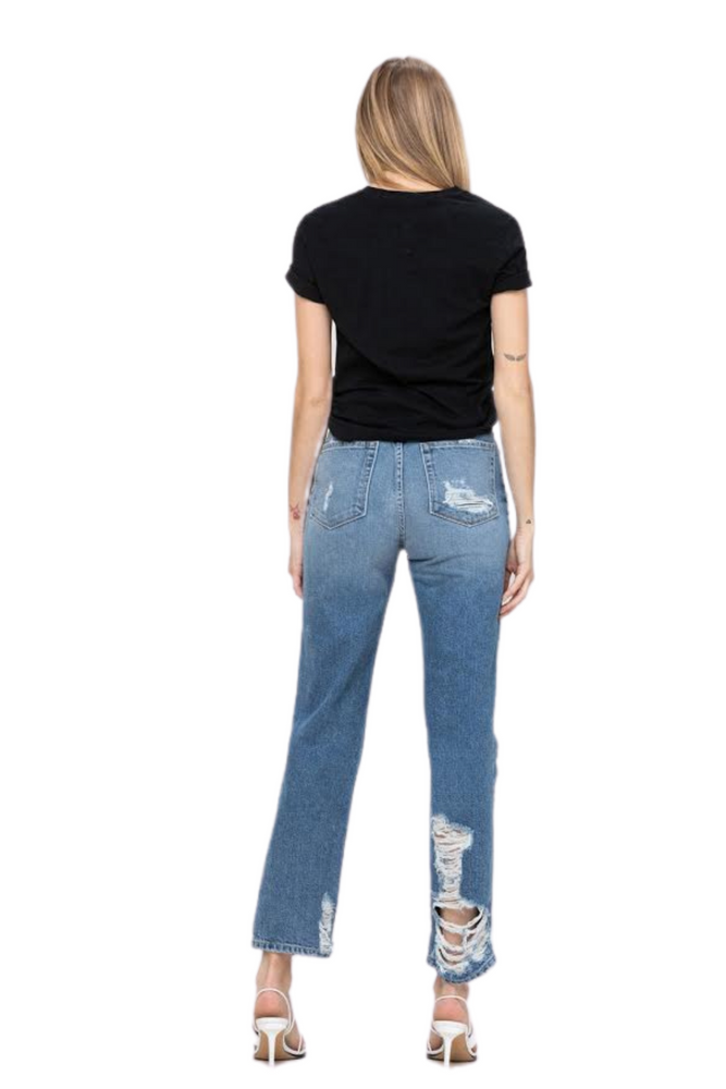 Super High Rise Tattered Ankle Straight Jeans