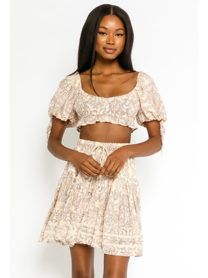 Flowy Paisley Skirt With Drawstring