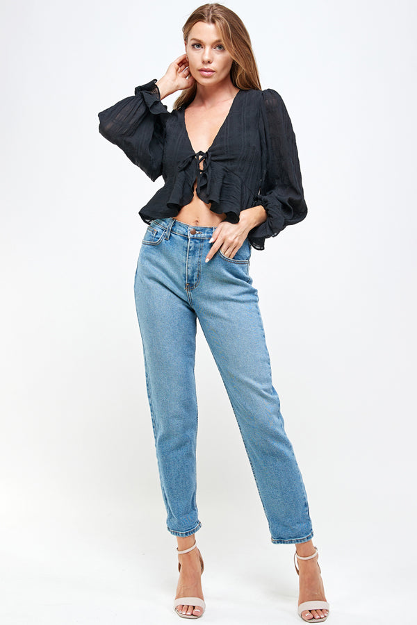 Long Sleeve Ruffle Tie front Top