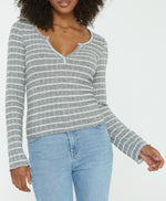 Long Sleeve Striped Cozy henley top