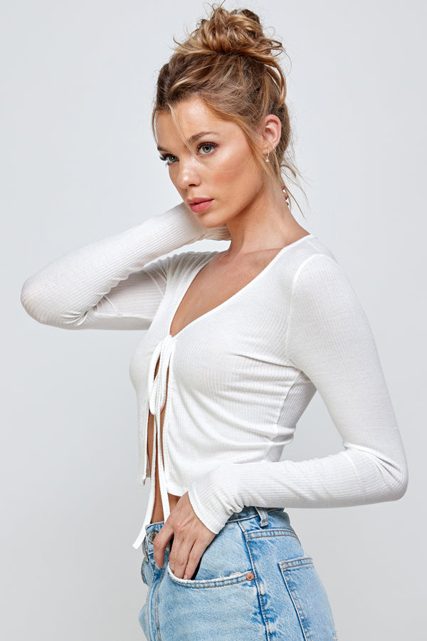 Long Sleeve Crop Tie Top