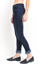 Fringe Hem Jeans</br>Just Black