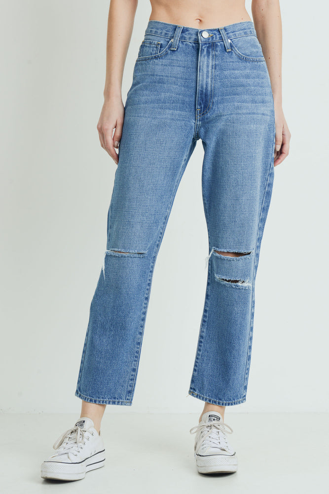High Rise Mom Jean With Knee Rip </br>Just Black
