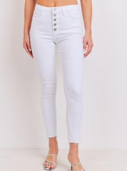 Button Up Skinny Jeans With Hem Scratch