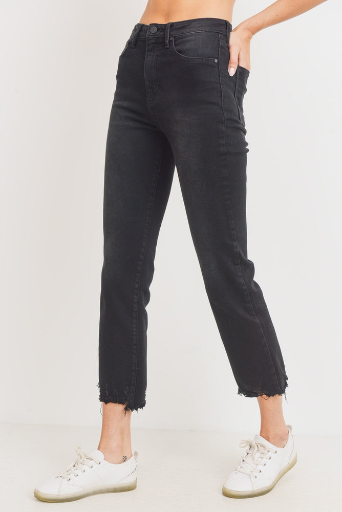 High Rise Destroyed Hem Straight Jeans