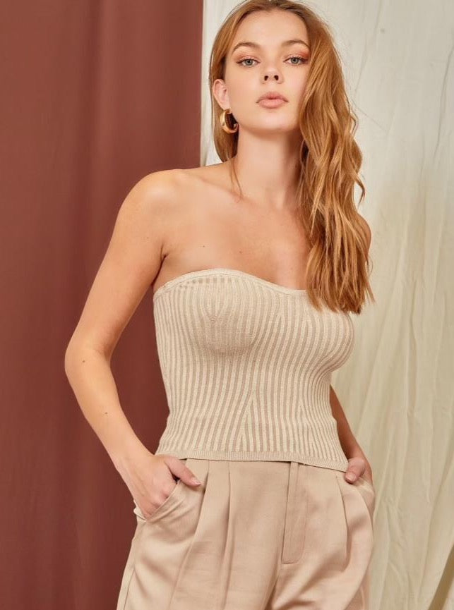 Ribbed Sweetheart Neckline Tube Top