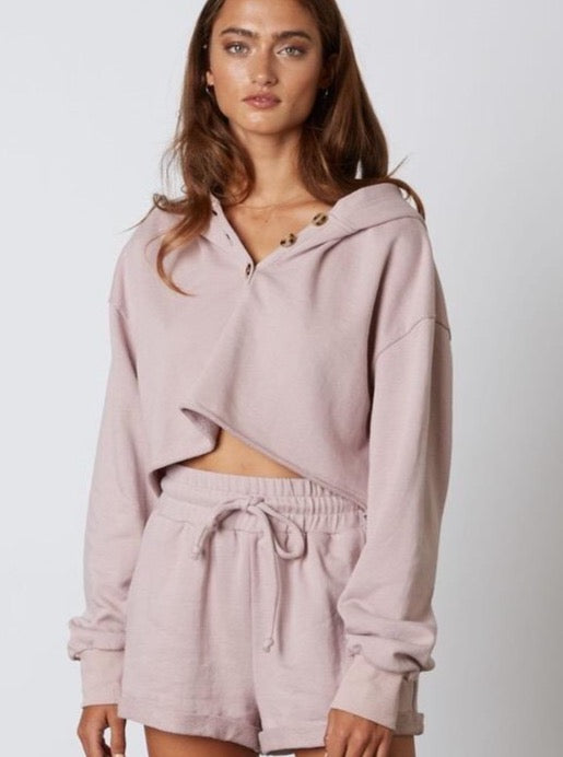 Button Up Cropped Hoodie