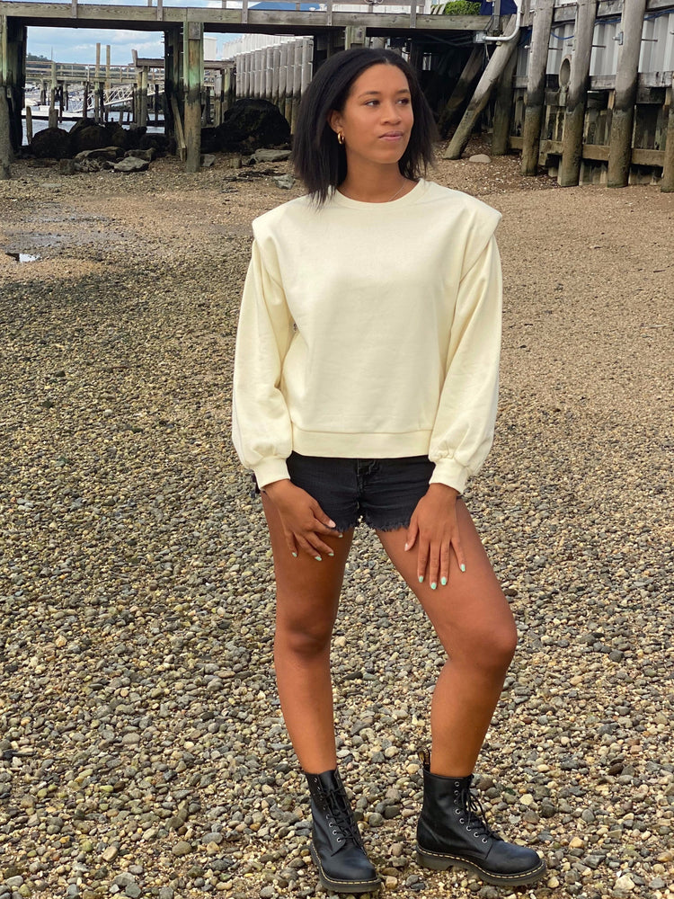 Knit Padded Shoulder Sweatshirt