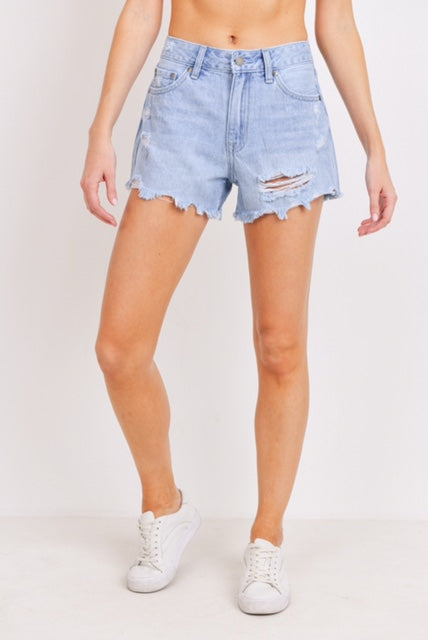 High Rise Scalloped Distressed Shorts