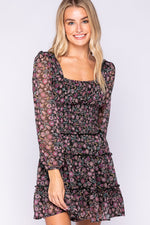 long sleeve floral dress with smock waist