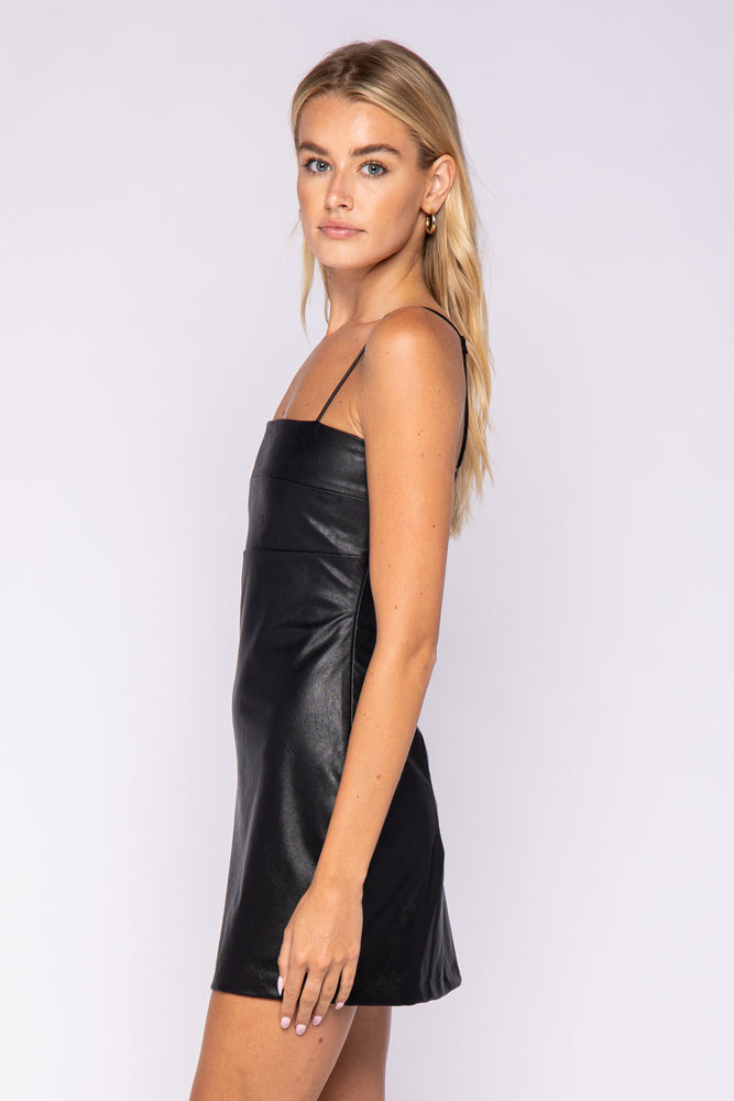 adjustable spaghetti strap faux leather mini dress
