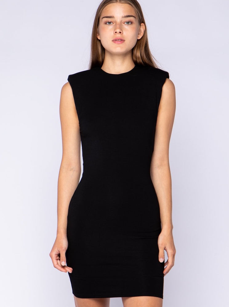 black dress w/ shoulder pads