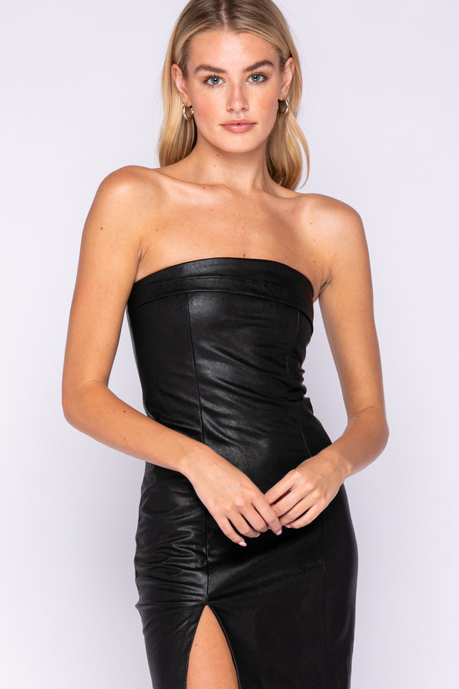 Faux Leather Strapless Mini Dress