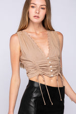 Sleeveless Button Down lace Trim Top
