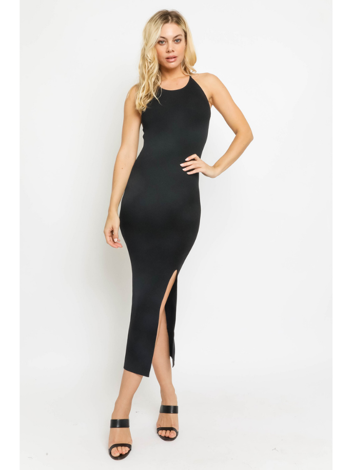 Ribbed Slit Front Dress