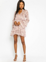 Long Sleeve Floral Flowy Dress
