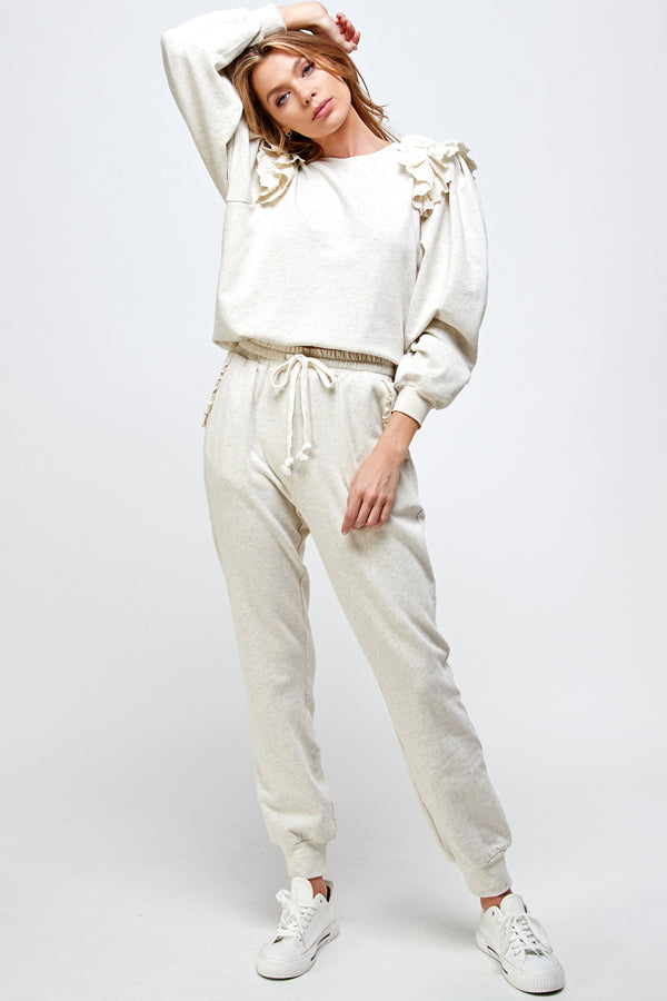 Ruffle Lace Sweatpants