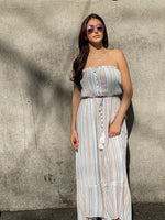 Strapless Front Slit Maxi Dress