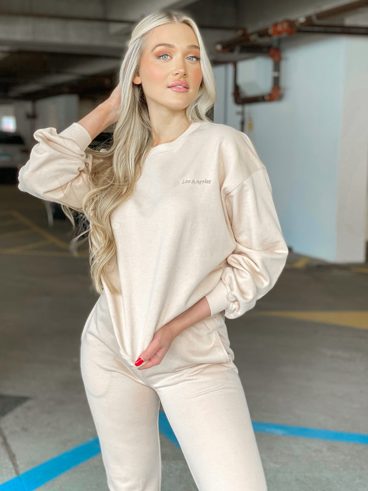 Los Angeles Embroidered Crew Neck Sweatshirt