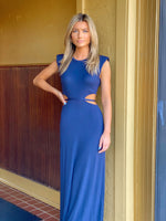 Maxi Cutout Dress With Shoulder Pads