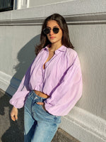 Long Sleeve Button Down Puffy Sleeve Top
