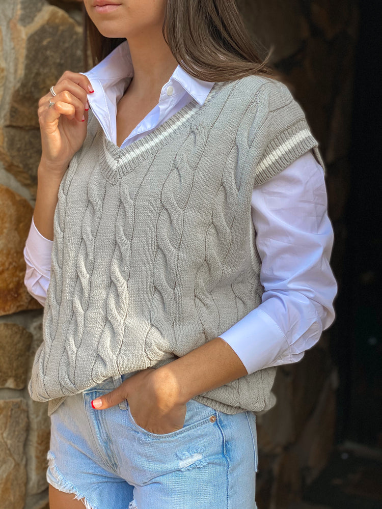 Oversized Cable Knit Vest With Stripe Detail