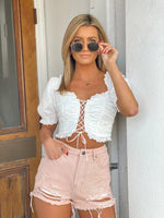 Puff Sleeve Lace Up Front Detail Crop Top