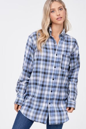 Long Sleeve Oversized Plaid Top