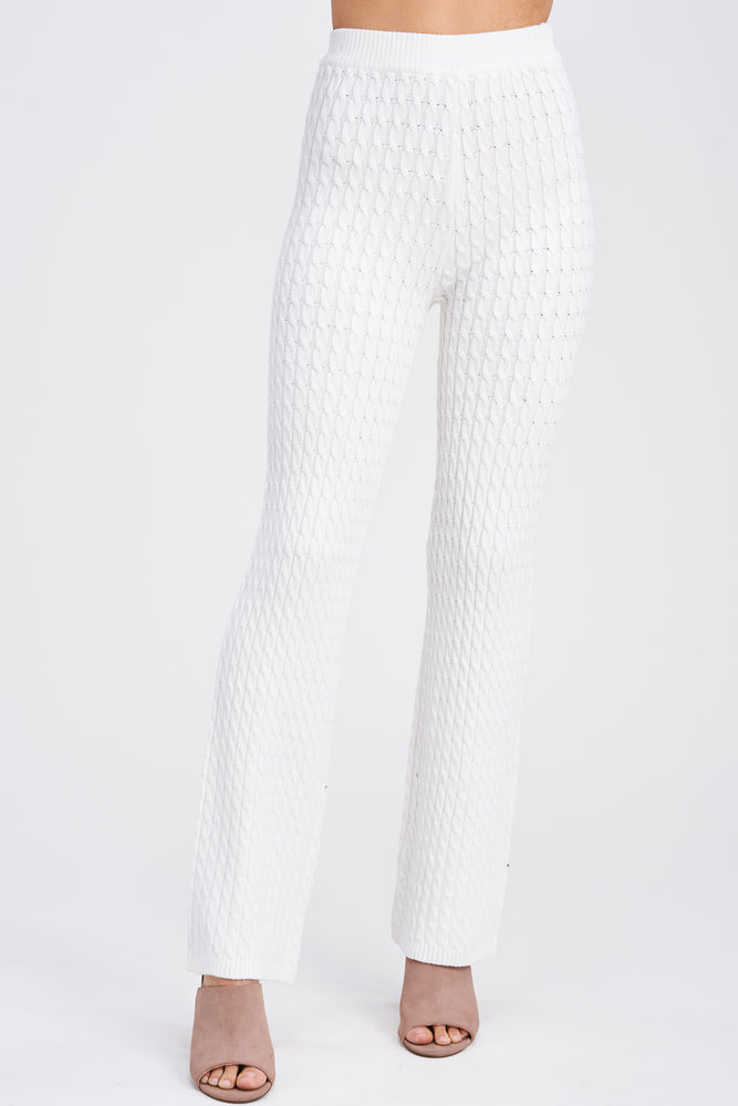 High Rise Cable Knit Pants