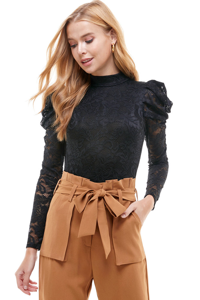 Long Sleeve Mock Neck Lace Bodysuit