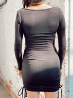 Long Sleeve Bustier Side Tie Dress