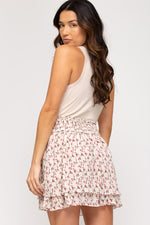 Floral Print Woven Skirt With Smocked Waist Band