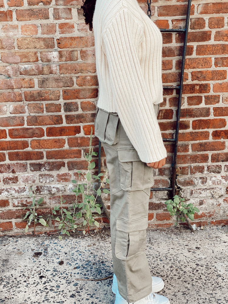Oversized Mock Neck Cropped Sweater