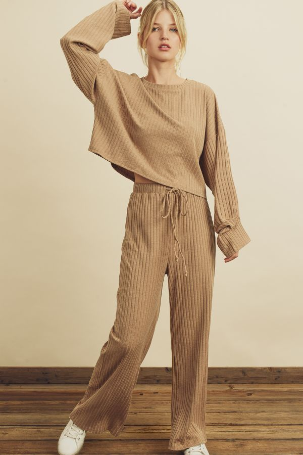Slouchy Ribbed Knit Sweatpants