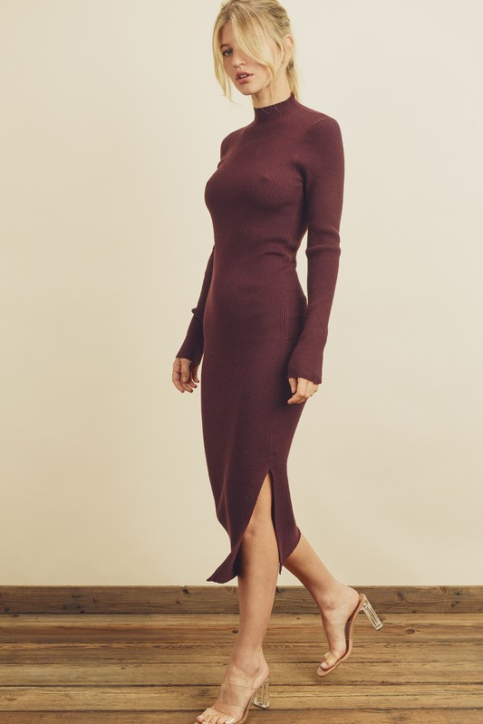 Long Sleeve Mock Neck Midi Dress