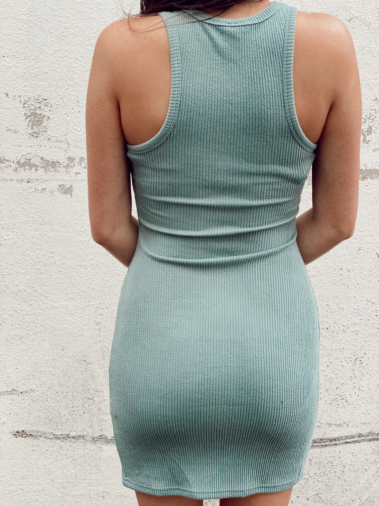 Knit Ribbed Racerback Side Slit Dress