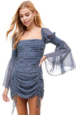 Smocked Back Ruched Detail Mini Dress