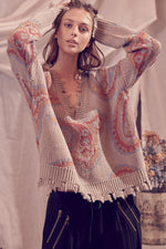 Knit Distressed V Neck Sweater