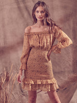 Long Sleeve Off Shoulder Smocked Dress