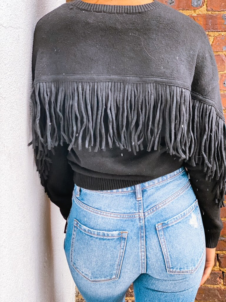 Back Fringe Long Sleeve Sweater