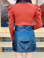 Leather Skirt With Jewel