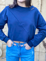 Slit Long Sleeve Asymmetrical Crop Top