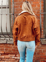 Corduroy Crop Bomber With Shearling Insert