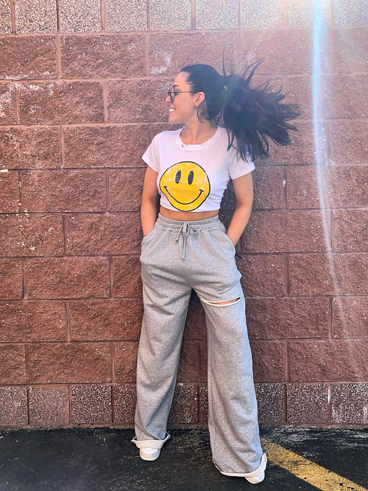 Smiley Face Distressed Crop Top