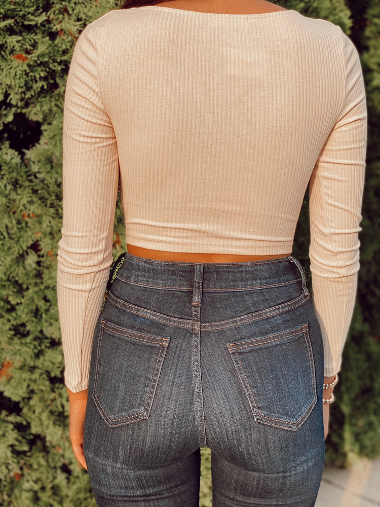 Long Sleeve Rib Front Button Crop Top