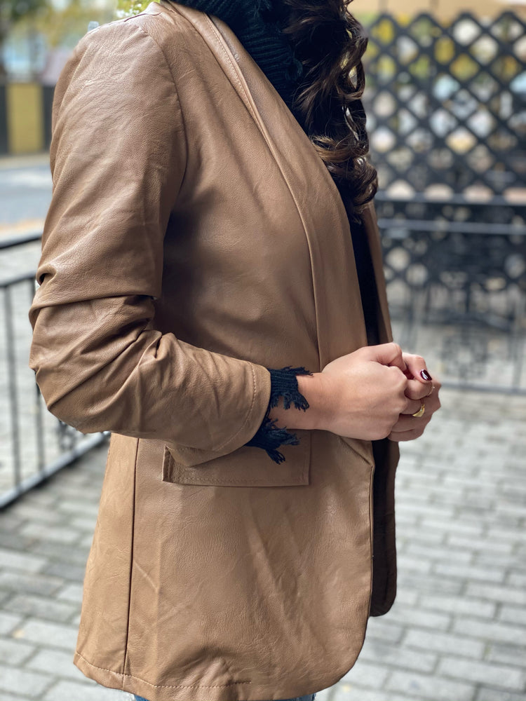 Vegan Leather Ruched Sleeve Blazer