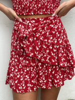 Floral Tie Ruffle Skirt