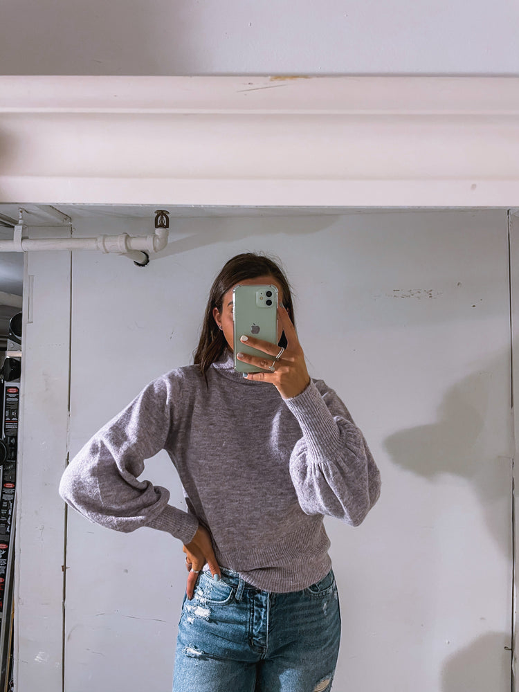 Long Balloon Sleeve Mock Neck Sweater